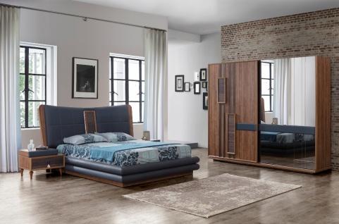 Schlafzimmer komplett Danny 4-teilig in Blau / Braun