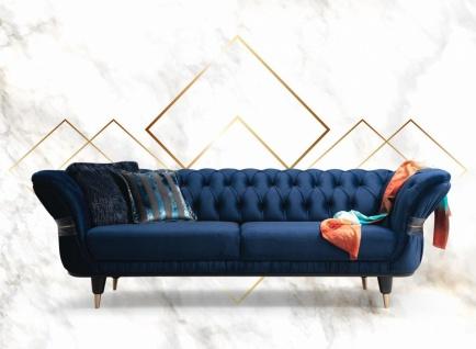 Sofa Londos 3-Sitzer Blau in edlem Design