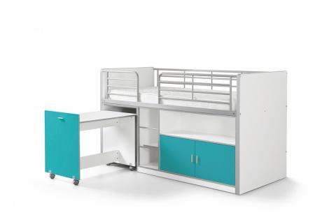Bonny Hochbett 90x200 mit Schreibtisch Türkis