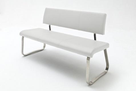 Sitzbank Menni Edelstahl Weiß Echtes Leder 175