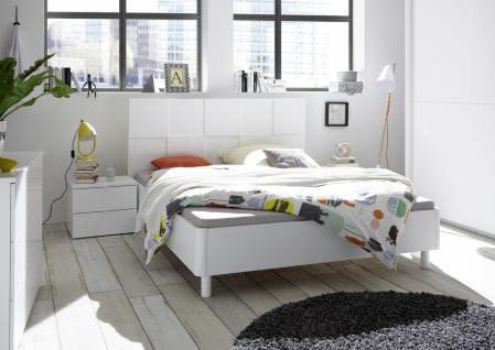 Bett Ottea Weiß mit Kopfteil in 3D Optik 160x200