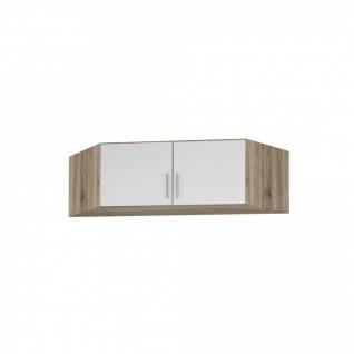 Eckschrankaufsatz CELLE weiß / Eiche Sanremo 117 x 39 x 117 cm