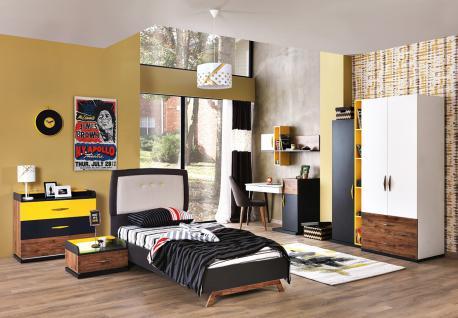 Kinder Komplettzimmer Titan 7-teilig mit gelben Akzenten