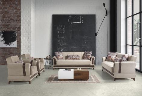 Sofa Set Couch mit Schlaffunktion in Beige Sahra 3+2+1