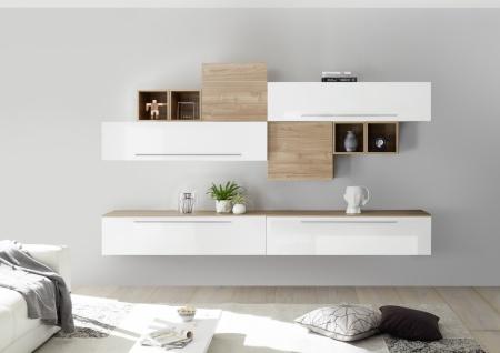 Wohnwand Set Veldig 10-teilig in Weiß Nussbaum hell