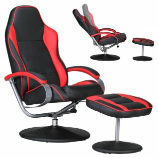 Sporting TV Fernsehsessel Relaxsessel schwarz / rot drehbar mit Hocker