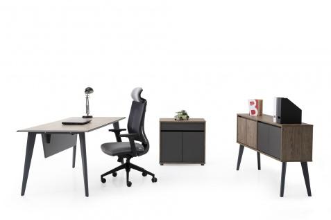 Ovali Schreibtisch Set 3-teilig Eco Holzoptik 180x80 cm