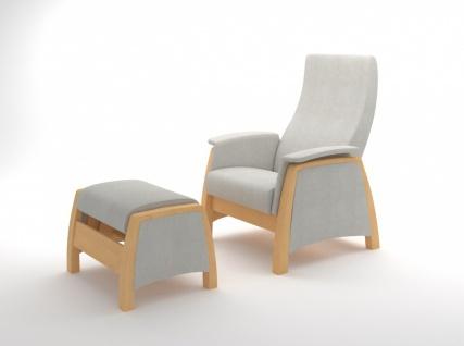 Sessel mit Gleitfunktion und Hocker Balance Natur Grau