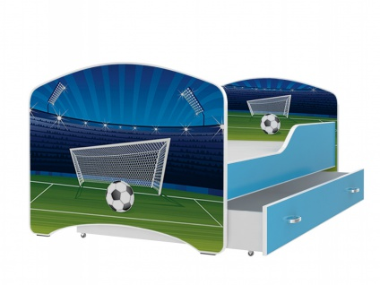 Motiv Kinderbett Ibis mit Bettkasten 80x160 Fußball