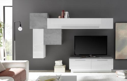 Wohnwand Set Veldig 6-teilig in Weiß Beton Optik
