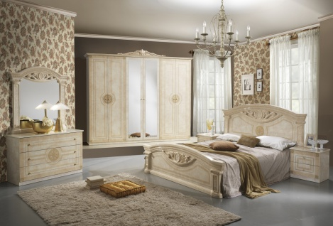 Schlafzimmer in Beige Romina mit 4-türigem Schrank