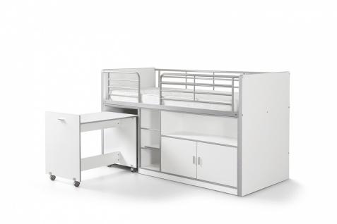Bonny Hochbett 90x200 mit Schreibtisch Weiß