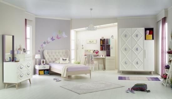 Jugendzimmer Set Weiß Lila Diamond 8-teilig