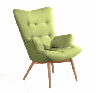 Retro Sessel in Apfelgrün Greta Leinenoptik
