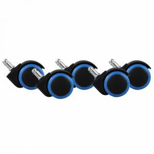 5er Set Hartbodenrollen Blau / Schwarz 11 / 50 mm für harte Böden (hoch abriebfest für helle Böden)