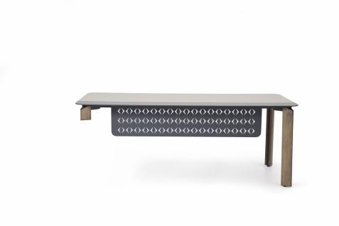 Ovali Schreibtisch 2-beinig Twist L2 Anthrazit 200x90x75