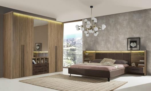 Schlafzimmer in Braun Edira 4-teilig mit Beleuchtung