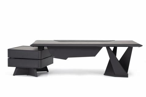 Ovali Design Büroschreibtisch 2-teilig Origami l Schwarz