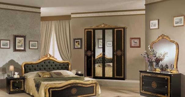 Schlafzimmer in Schwarz Christina mit 4-türigem Schrank