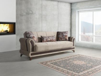 Schlafsofa mit Bettkasten 3-Sitzer Beige Sahra