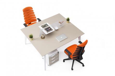 Ovali doppelter Schreibtisch Eco 2P 160x140x75 cm