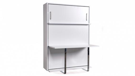 Wandklappbett Diva Double Table mit Tisch in Weiß