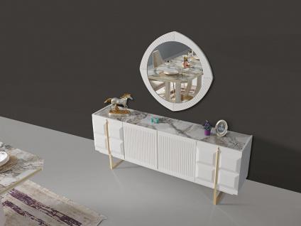 Lidya Esszimmer komplett Pianno mit 4 Stühlen in Weiß - Vorschau 3