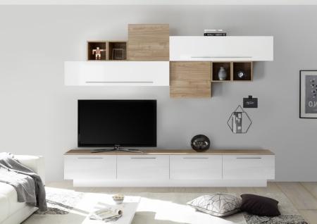 Wohnwand Veldig 10-teilig Weiß Nussbaum Optik hell