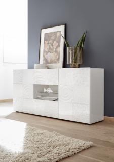 Sideboard Weiß mit Siebdruck Orim 2-türig
