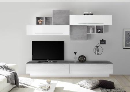 Wohnwand Set Veldig in Hochglanz Weiß Beton Optik