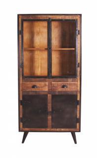 Vitrine Ferrum mit 4 Türen aus Mangoholz und Eisen