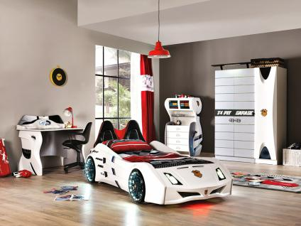 Autobett Kinderzimmer Cat Garage Car Weiß Schwarz - Kaufen bei Möbel-Lux