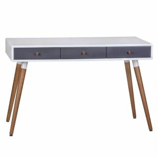 Retro Konsolentisch Weiß Grau SCANIO mit 3 Schubladen - Füße Eiche