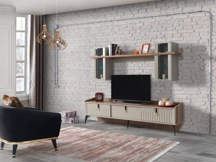 TV Wand Alanza mit Lowboard & Wandelemente