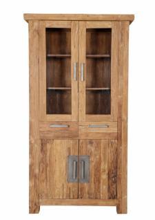 Vitrine Neum mit 4 Türen aus recyceltem Teakholz