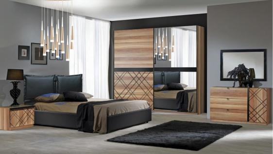 Komplettes Schlafzimmer Canova 180x200 in Schwarz