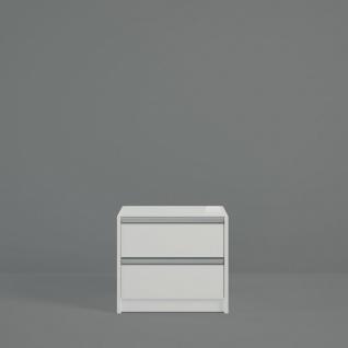 Nachtkommode in Weiß Borry mit Glastop