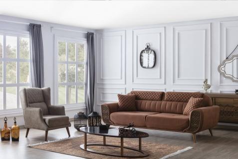Couch Set Vega mit Schlafsofa & Sessel in Nubuk Optik