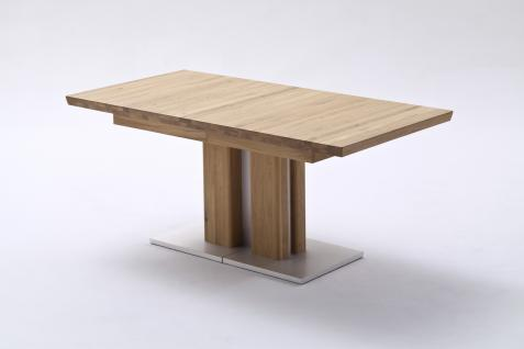 Wari Esstisch mit Säulengestell Ausziehbar Edelstahloptik