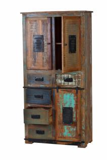 Schrank Merkur mit 3 Türen aus Altholz recycelt Bunt