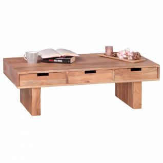 WOHNLING Couchtisch Massivholz Akazie Design Wohnzimmer-Tisch 110 x 60 cm mit 6 Schubladen Landhaus-Stil Holztisch