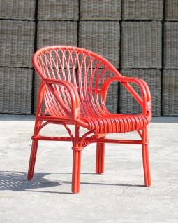 Relaxstuhl Nexis mit Dekor aus Rattanpalme Rot