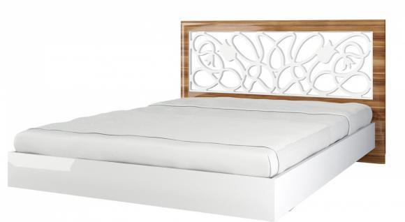Lotus Bett 160x200 mit Blumen Dekor Weiß Hochglanz