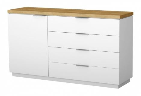 Sideboard Tanami 1-türig in Weiß mit Eiche Natur