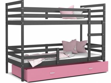 Etagenbett mit Bettkasten Grau Rosa Rico 80x160