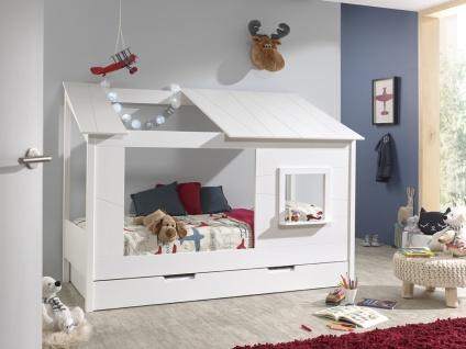 Hausbett mit Bettschubkasten Weiß Bonni massiv