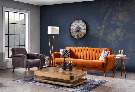 Couch Garnitur Maya 2-teilig Retrostyle Orange
