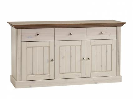 Sideboard Monaco 3-türig in White wash-Stone