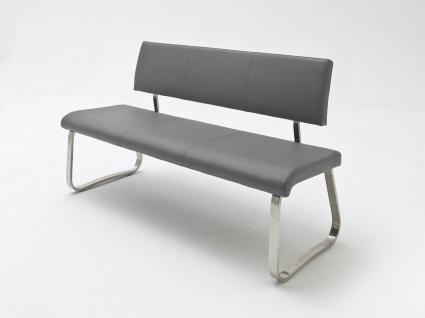 Sitzbank Menni Edelstahl Grau Echtes Leder 155