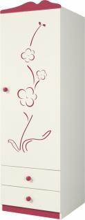 Kleiderschrank 1-türig Creme Sakura mit Blütendekor